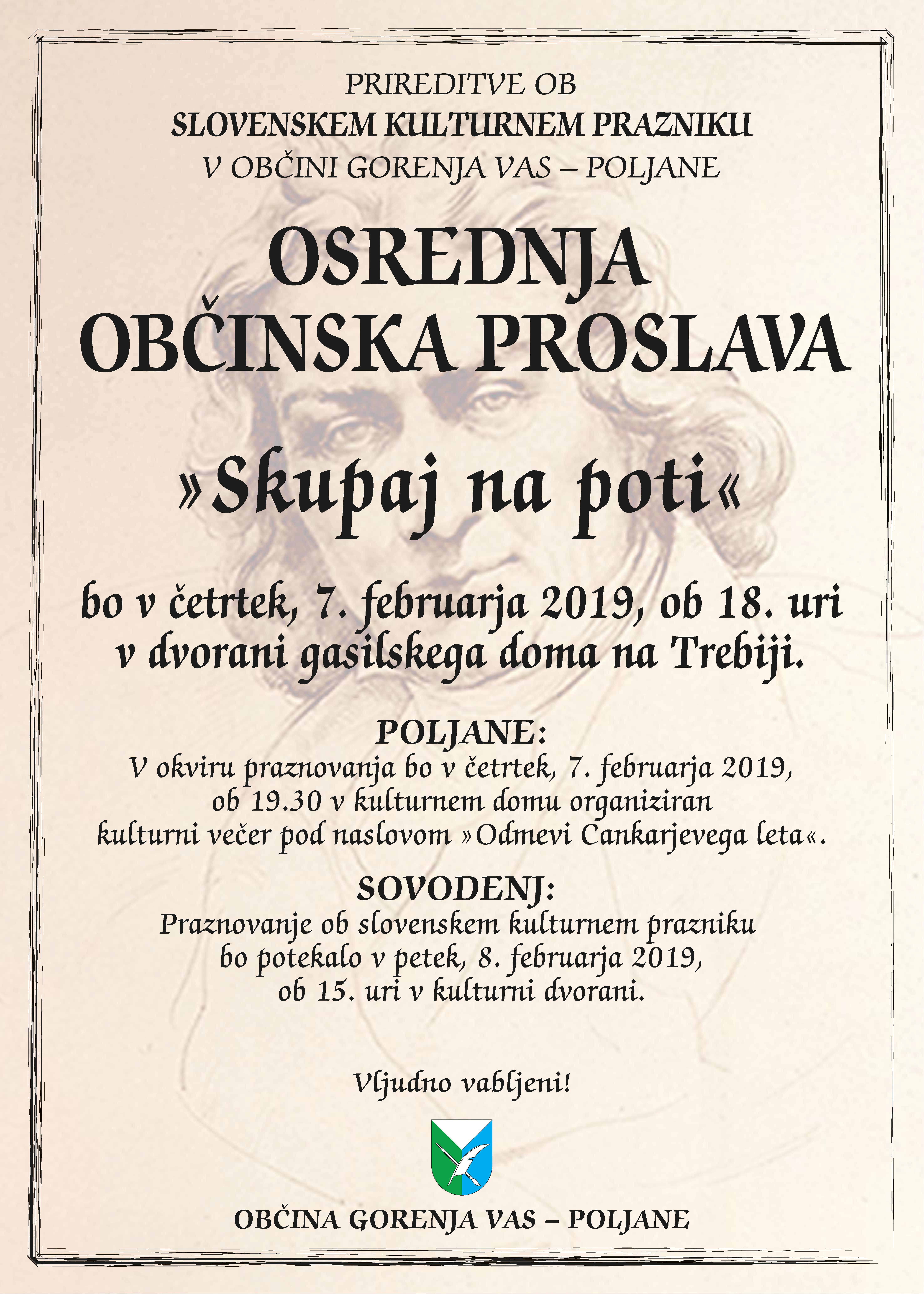 Občinsko praznovanje slovenskega kulturnega praznika